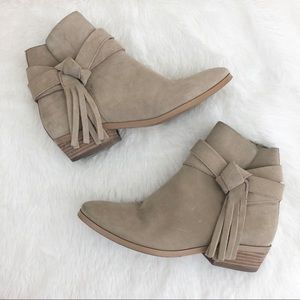 Guess Suede Fringe Tie Ankle Bootie